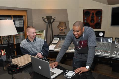 Winner of the 2013 Money Matters Music Mogul contest Blake McGuire and multi-platinum producer Kevin ...