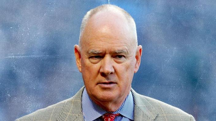 Sandy Alderson treated light blue background