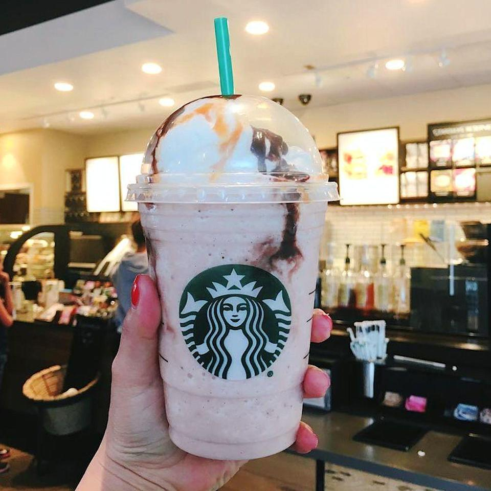 <p>While lucky people at the Desert Hills outlet in Palm Springs have access to the drink, anyone can ask their Starbucks barista for this secret menu item if you know what to request. </p><p>Here's how they can make it: Order a strawberry and crème Frappuccino; add vanilla bean powder, java chips, and a whole banana; top it off with whipped cream and mocha drizzle (maybe some caramel drizzle, too)!</p>