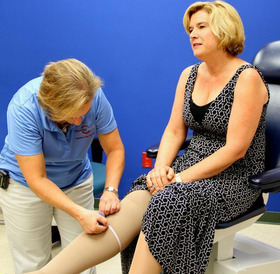 A lymphedema therapist measures the leg of Amy Caterina, of San Diego, Calif., prior to surgery for lymphedema.