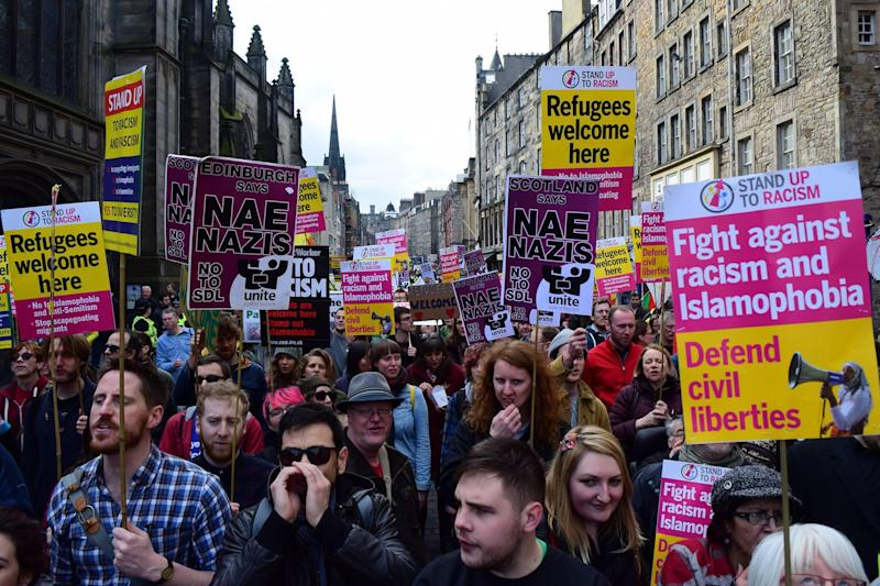 Protesters at an anti-racism march in Scotland: United Against Fascism