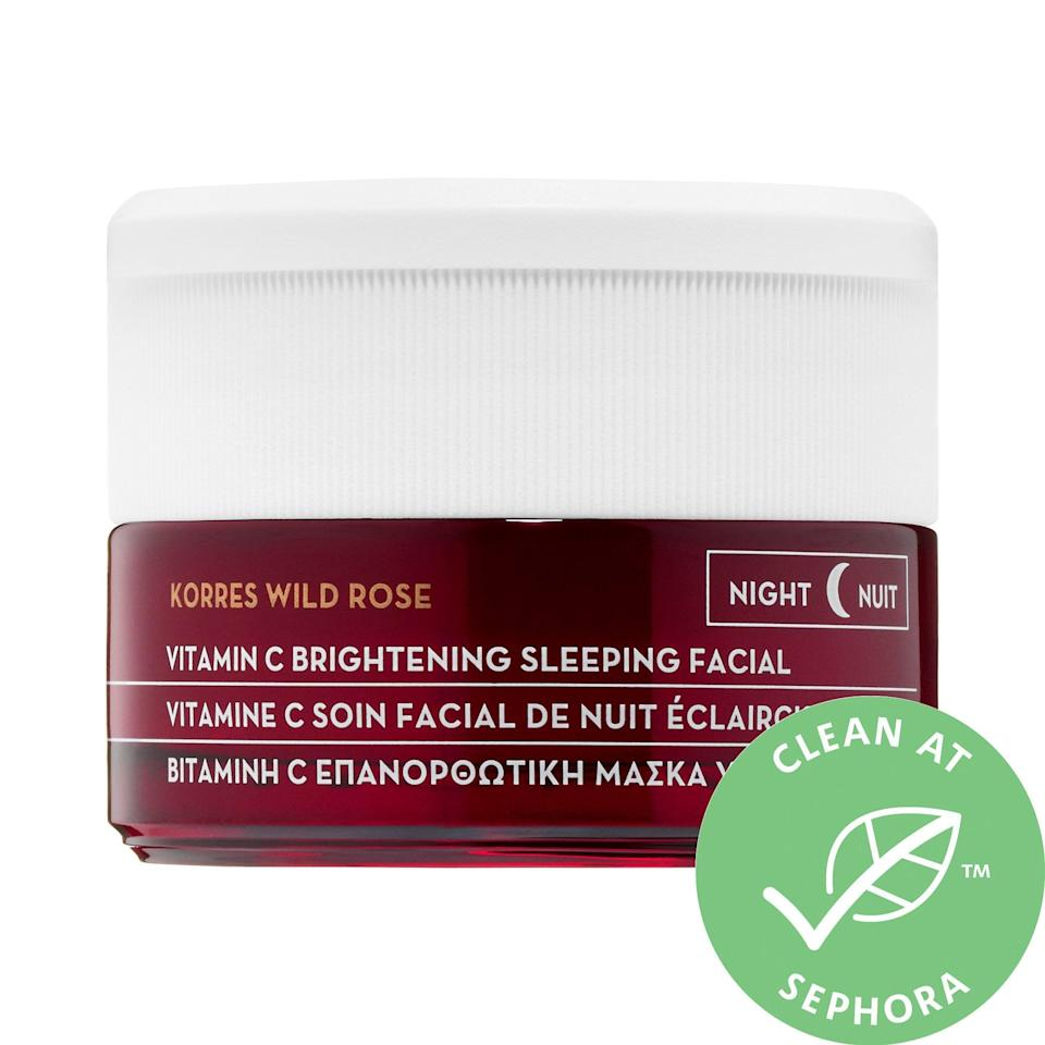 <p>Address dullness, fine lines, and dehydration all in one, thanks to this <span>Korres Wild Rose + Vitamin C Advanced Brightening Sleeping Facial</span> ($48).</p>