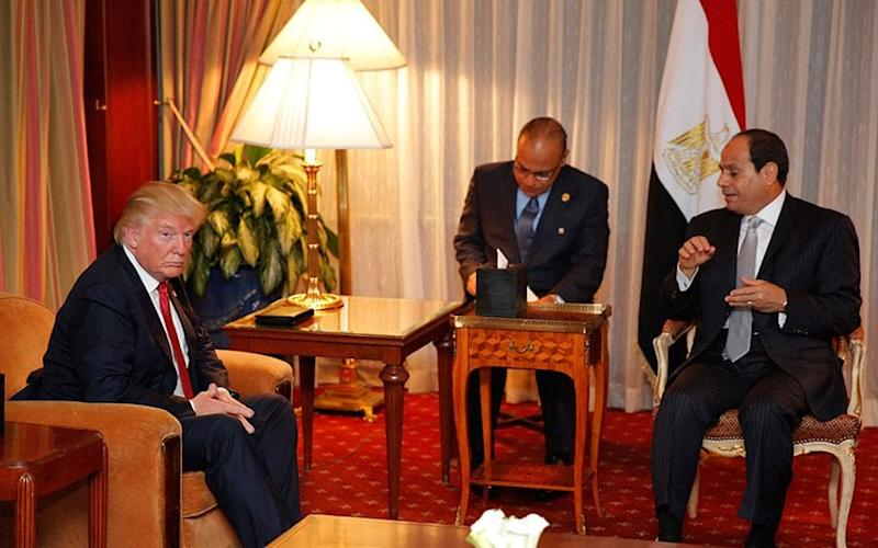 Donald Trump meeting Abdel Fattah el-Sisi in New York in September - This content is subject to copyright.