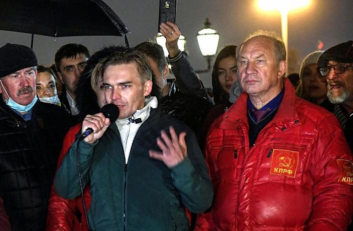 Communist candidate Mikhail Lobanov speaks at Sunday night's protest in Moscow. (AFP via Getty Images)