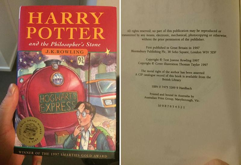 An Australia first edition of Harry Potter and the Philosopher's Stone published in 1997. A Melbourne man found this copy in a Salvos store. It could be worth about $700.