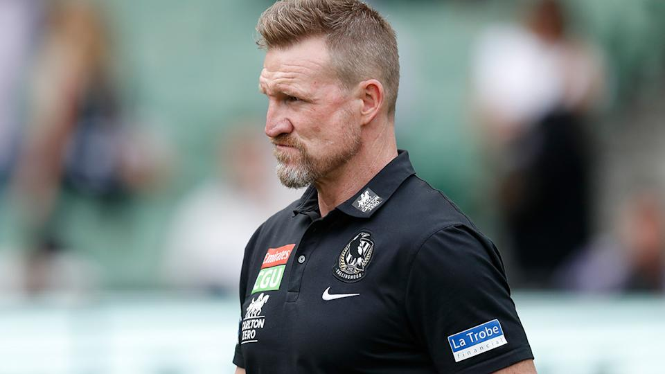 Collingwood coach Nathan Buckley has admitted the Magpies' tumultuous season has had an impact on morale. (Photo by Michael Willson/AFL Photos via Getty Images)