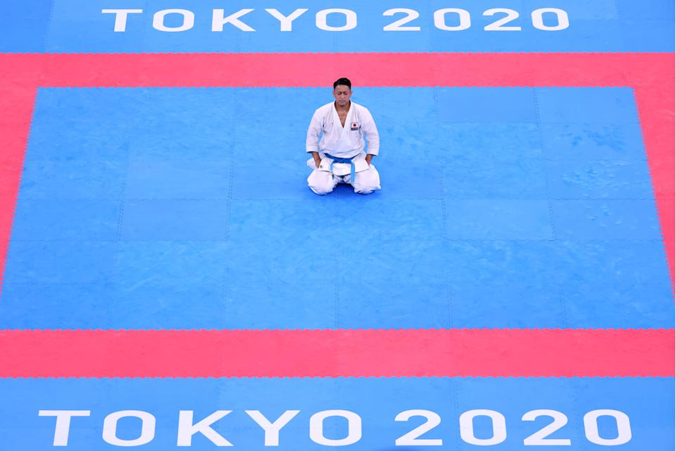 <p>Ryo Kiyuna of Team Japan reacts after winning the Men's Karate Kata Final Bout on day fourteen of the Tokyo 2020 Olympic Games at Nippon Budokan on August 06, 2021 in Tokyo, Japan. (Photo by Harry How/Getty Images)</p>