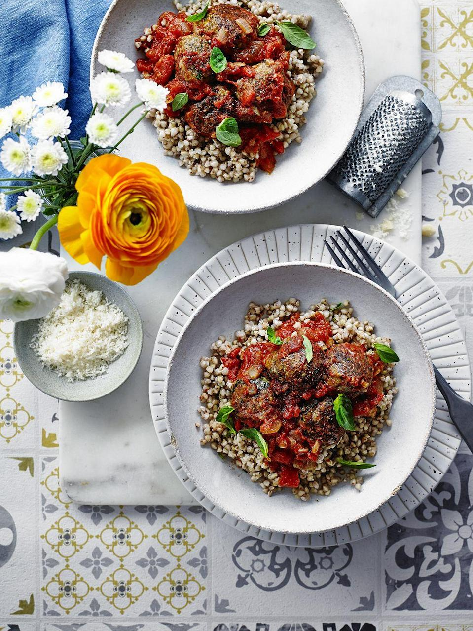 """<p>We've served this with buckwheat, a nutrient-rich grain-like fruit seed that's low in calories but high in vitamins and minerals.</p><p><strong>Recipe: <a href=""""https://www.goodhousekeeping.com/uk/food/recipes/a26127845/courgette-lentil-balls/"""" rel=""""nofollow noopener"""" target=""""_blank"""" data-ylk=""""slk:Courgette and lentil balls with tomato sauce"""" class=""""link rapid-noclick-resp"""">Courgette and lentil balls with tomato sauce</a></strong></p>"""