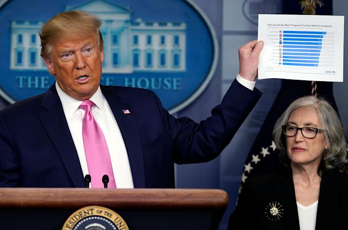 President Donald Trump, with members of the president's coronavirus task force, holds a paper about countries best prepared to deal with a pandemic during a news conference on Feb. 26, 2020, in Washington. (Photo: (AP Photo/Evan Vucci))