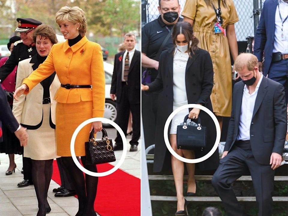 A side-by-side of Princess Diana and Meghan Markle carrying similar purses.