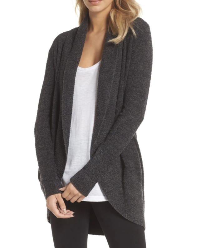 Barefoot Dreams CozyChic Lite Circle Cardigan in Carbon (Photo via Nordstrom)