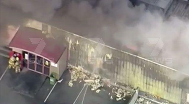 The livelihood of traders at a Footscray market went up in flames in a huge blaze at the building on Tuesday morning. Pictures: 7 News