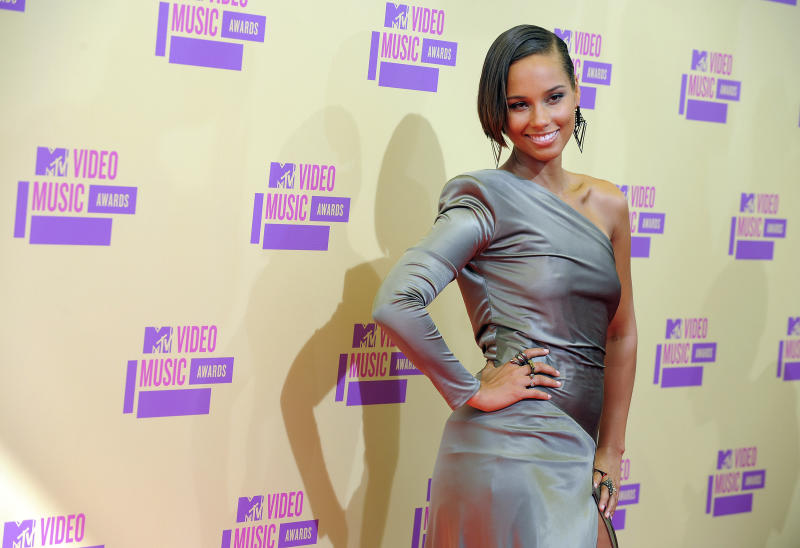 Alicia Keys attends the MTV Video Music Awards on Thursday, Sept. 6, 2012, in Los Angeles. (Photo by Jordan Strauss/Invision/AP)