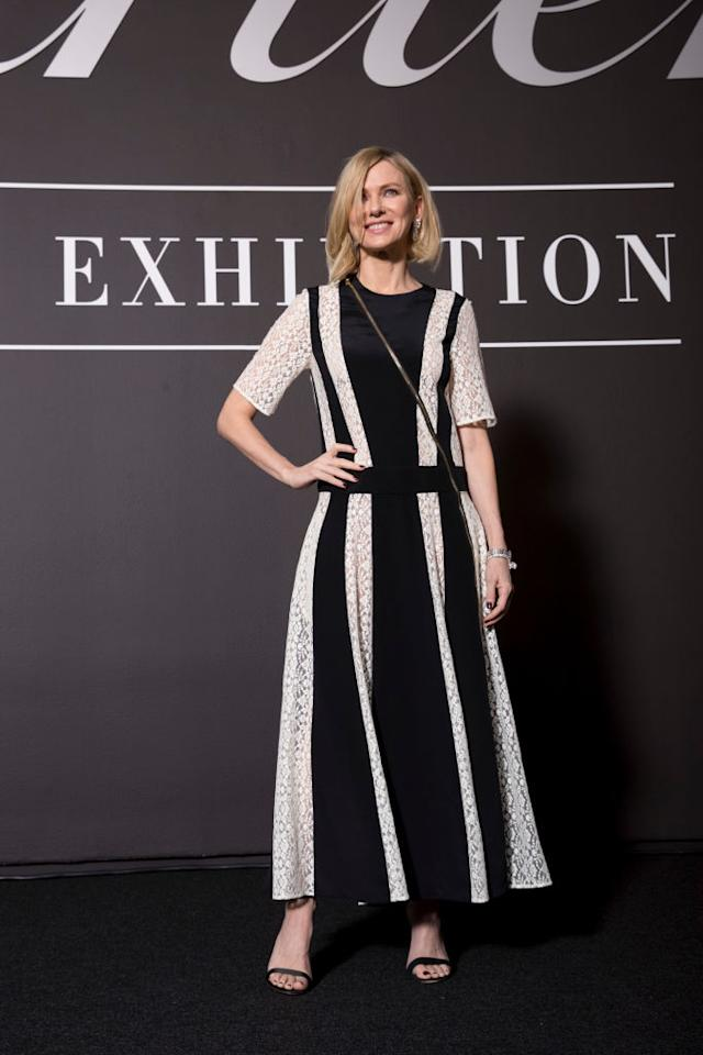<p>Naomi Watts opted for an ankle-skimming lace dress by Calvin Klein for the media preview of <em>Cartier: The Exhibition</em> in Australia. <em>[Photo: Getty]</em> </p>