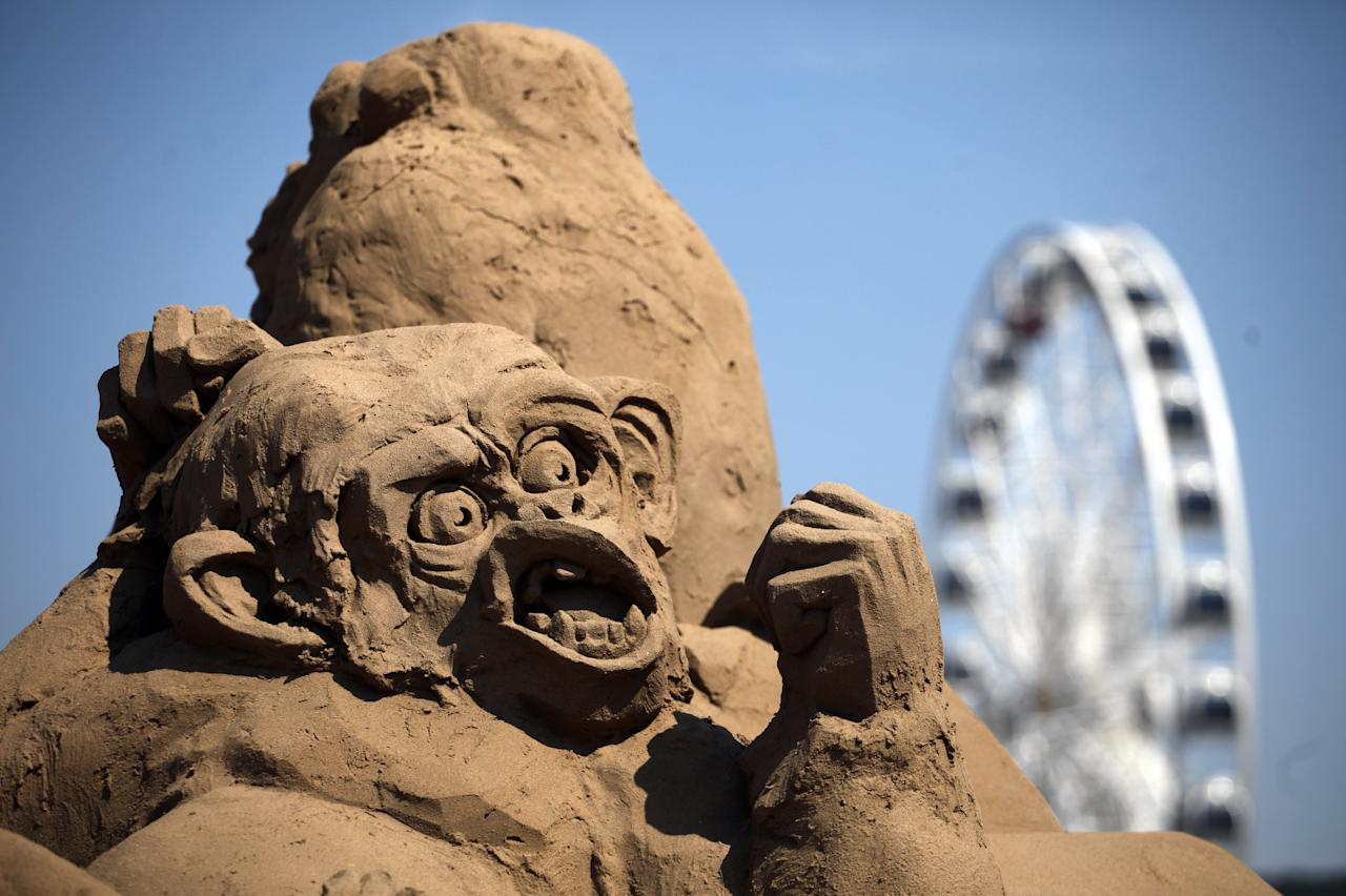 WESTON-SUPER-MARE, ENGLAND - JULY 04:   The sun shines on Weston-super-Mare's Sand Sculpture Festival and the sand art currently being displayed on July 4, 2011 in Weston-Super-Mare, England. Now in its fourth year and with a Amazon Jungle theme for 2011, the seaside resort's event attracts top sand sculptors from across the world and runs throughout the summer months.  (Photo by Matt Cardy/Getty Images)