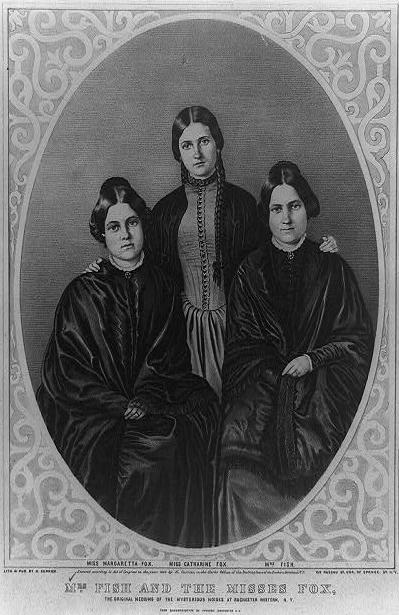 The Fox sisters (pictured) are considered the originators of spiritualism. In 1848, siblings Maggie and Kate reported hearing 'rappings' and 'knocks' that they interpreted as a spirit communicating with them within their upstate New York home. (Supplied: Durham University)