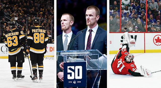 Brad Marchand continues to take souls, the Sedin twins were honoured in Vancouver, and Craig Anderson made one ridiculous save. (Getty)