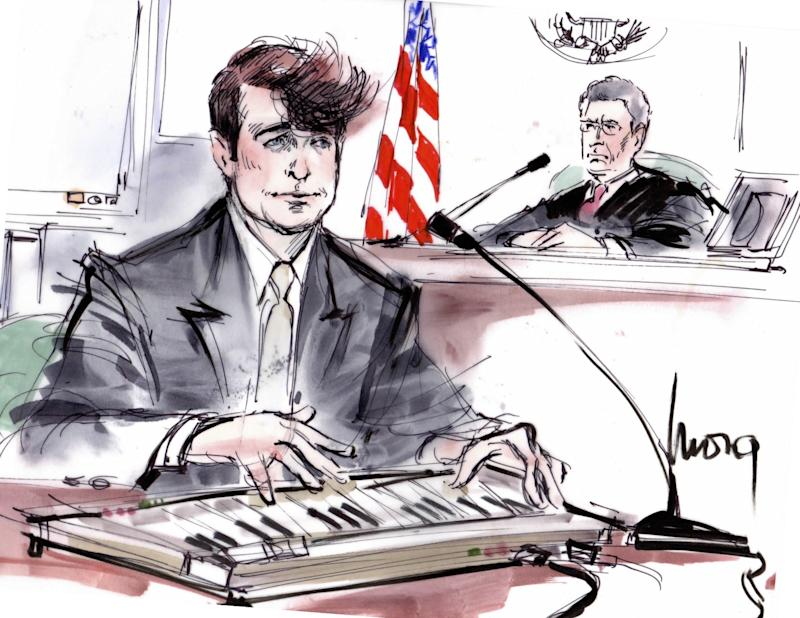"""Edwards was also there at the trial to depict Robin Thicke, and indeed, her sketch of the singer was heralded by some as the only good thing about the entire case. After all, to not have commemorated the moment Thicke pulled out a keyboard on the witness stand and sang a medley of U2's """"With Or Without You,"""" The Beatles' """"Let It Be,"""" Alphaville's """"Forever Young,"""" Bob Marley's """"No Woman No Cry"""" and Michael Jackson's """"Man in the Mirror"""" would have been a crime in and of itself."""