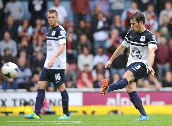 Everton's Leighton Baines takes a free-kick against former club West Ham United