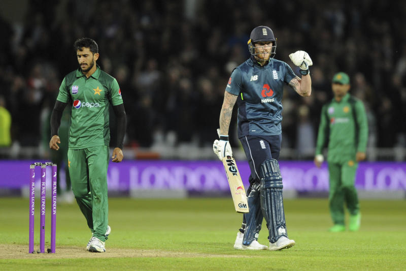 England's Ben Stokes, center, celebrates after winning the Fourth One Day International cricket match between England and Pakistan at Trent Bridge in Nottingham, England, Friday, May 17, 2019. (AP Photo/Rui Vieira)