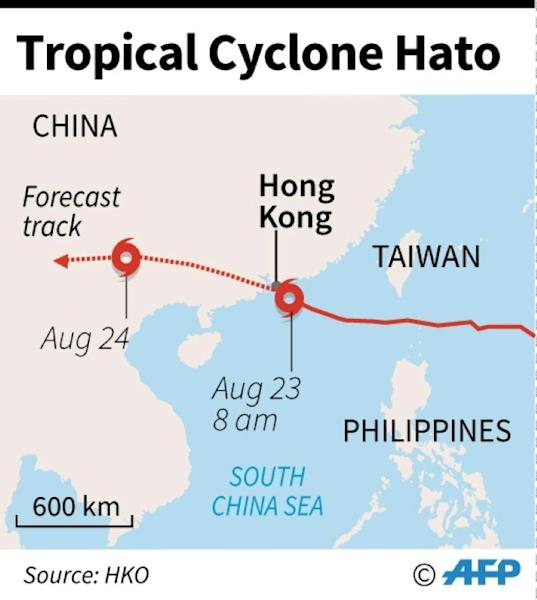 Map showing the path of Tropical Cyclone Hato as it battered Hong Kong Wednesday