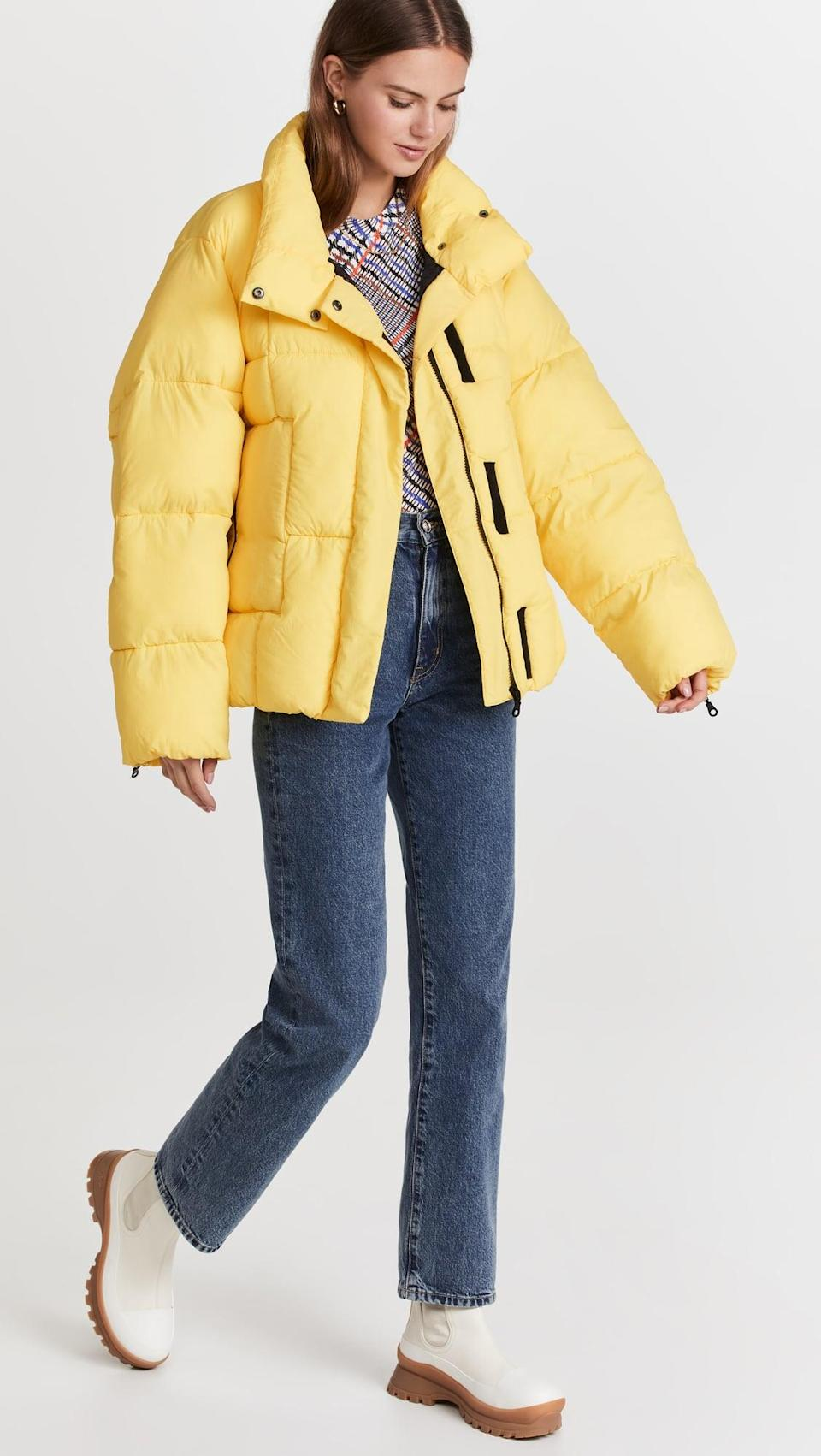 <p>This <span>Baum Und Pferdgarten Brooks Puffer</span> ($399) is just the sunshine we need on fall and winter days. The yellow hue makes us smile.</p>