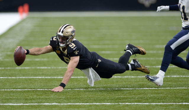 Drew Brees had a 137 QB rating in Sunday's victory against the Rams. (AP)