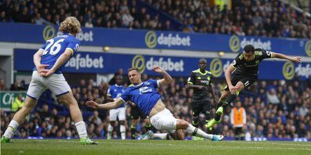 Britain Football Soccer - Everton v Chelsea - Premier League - Goodison Park - 30/4/17 Chelsea's Pedro scores their first goal Reuters / Phil Noble Livepic