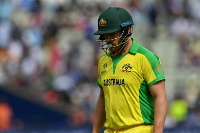 Australia captain Aaron Finch was dismissed for a golden duck in the World Cup semi-final between England and Australia at Edgbaston (AFP Photo/Paul ELLIS)