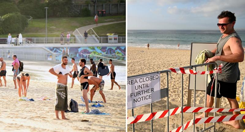 Beachgoers at Bondi Beach on Sunday March 22 2020