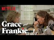 """<p>Grace (Jane Fonda) and Frankie (Lily Tomlin) could not be more different. But after finding out that their husbands have been romantic together for the past twenty years, they form an unexpected, but much needed friendship. </p><p><a href=""""https://www.youtube.com/watch?v=CDv6PRi1SgQ"""" rel=""""nofollow noopener"""" target=""""_blank"""" data-ylk=""""slk:See the original post on Youtube"""" class=""""link rapid-noclick-resp"""">See the original post on Youtube</a></p>"""