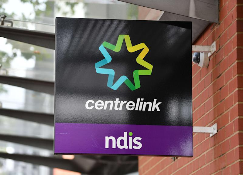 A close up of a Centrelink sign in Norwood, Adelaide on Thursday, April 16, 2020.