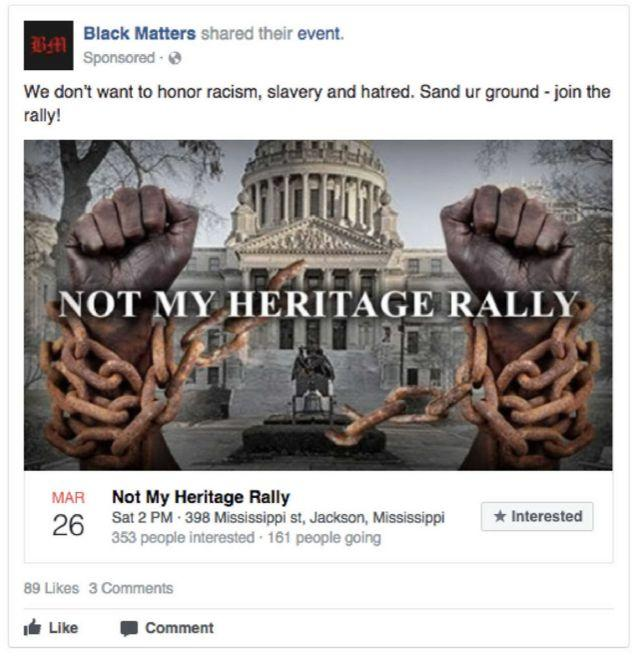 "According to the House analysis, the IRA paid 2,840 rubles (about $46) to promote a ""Not My Heritage Rally."" The ad targeted 18- to 50-year-olds who lived within 12 miles of Jackson, Miss., and had 9,306 impressions and 261 clicks."
