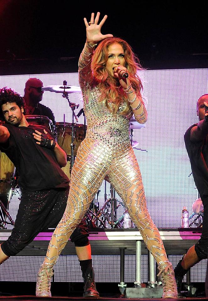 "Jennifer Lopez rocked a skintight bodysuit that would make Spider-Woman proud during the annual Wango Tango concert on Saturday at L.A.'s Staples Center. Jeff Kravitz/<a href=""http://www.filmmagic.com/"" target=""new"">FilmMagic.com</a> - May 14, 2011"