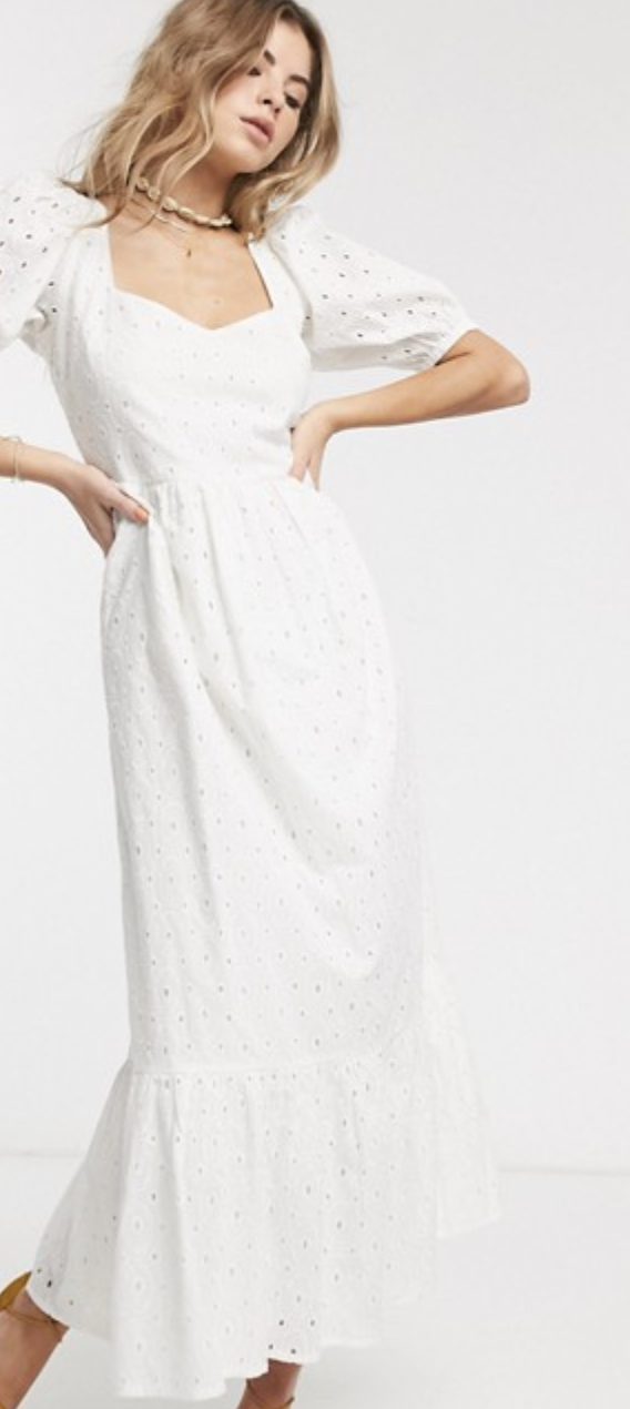 ASOS DESIGN Broderie Tiered Maxi Dress