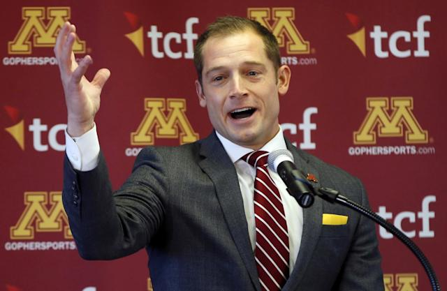P.J. Fleck was introduced as Minnesota's new head coach on Friday. (AP Photo/Jim Mone)