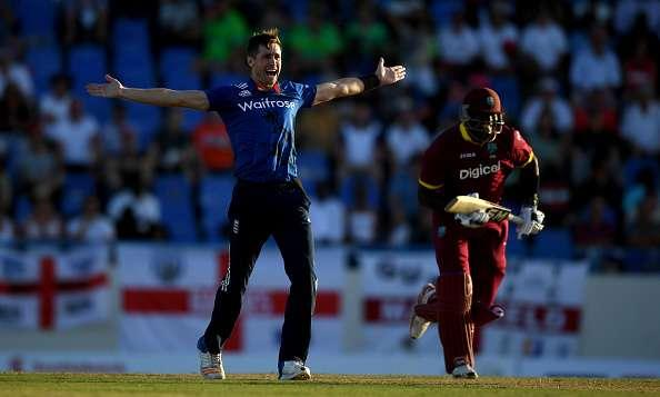 ST JOHNS, ANTIGUA - MARCH 03: Chris Woakes of England successfully appeals for the wicket of Ashley Nurse of the West Indies during the first One Day International between the West Indies and England at Sir Vivian Richards Cricket Ground on March 3, 2017 in St Johns, Antigua. (Photo by Gareth Copley/Getty Images)