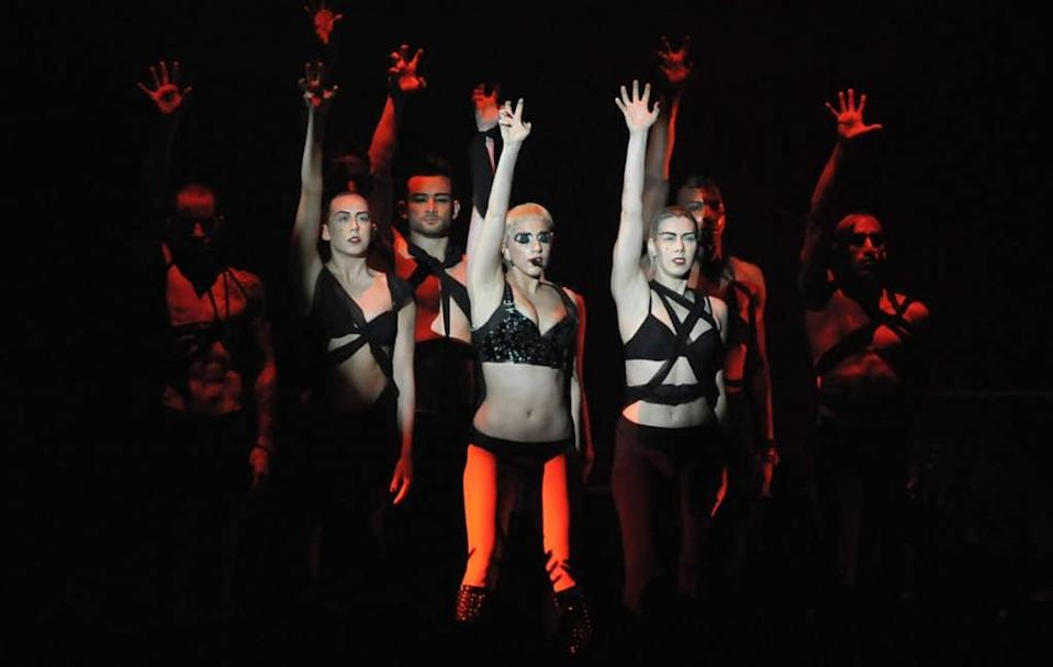Lady Gaga performs 'Born This Way' during MTV Video Misic Aid in 2011. (Getty)