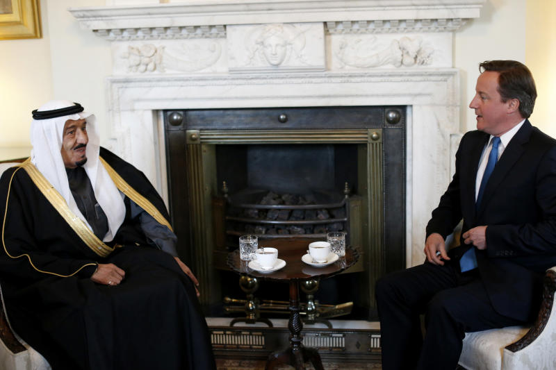 Britain's Prime Minister David Cameron, right, speaks with Saudi Arabia's Defence Minister Prince Salman bin Abdul-Aziz Al Saud during their meeting inside 10 Downing Street in London, Tuesday, April 3, 2012.  (AP Photo/Matt Dunham-Pool)