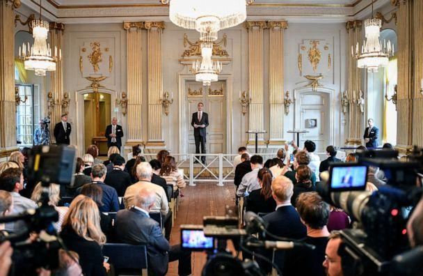 PHOTO: The permanent secretary of the Swedish Academy, Mats Malm, announces the winners of the 2018 and 2019 Nobel Prize in Literature in Stockholm, Sweden, Oct. 10, 2019. (Anders Wiklund/AP)