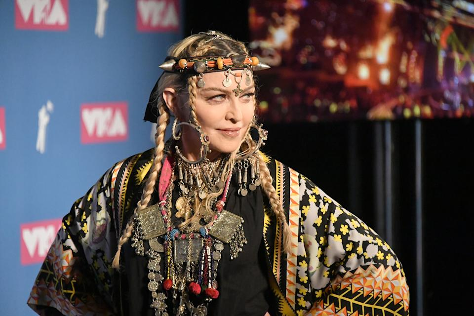 NEW YORK, NY - AUGUST 20:  Madonna poses onstage during the 2018 MTV Video Music Awards at Radio City Music Hall on August 20, 2018 in New York City.  (Photo by Mike Coppola/VMN18/Getty Images for MTV)