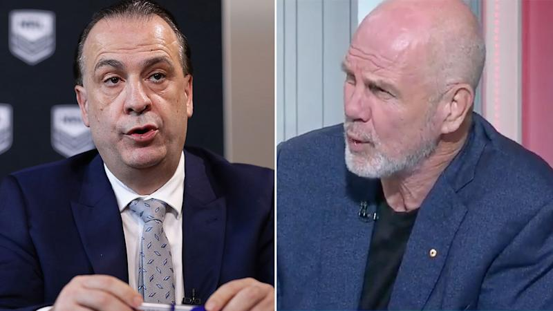 Pictured here ARLC chief Peter V'landys and sporting analyst Peter FitzSimons.