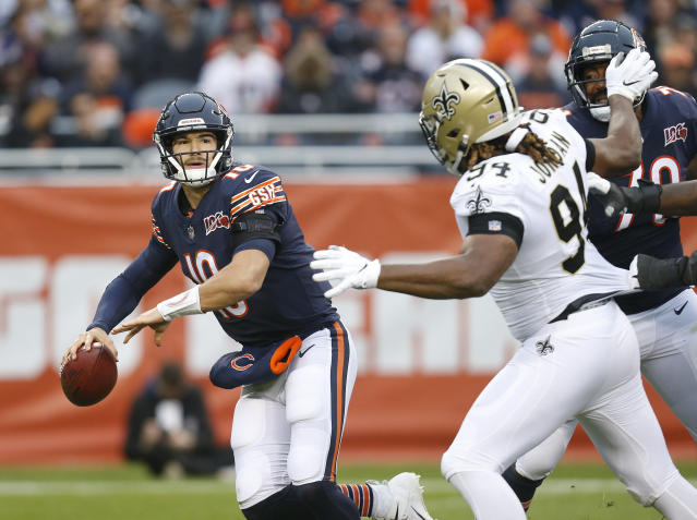 Mitchell Trubisky was booed often by Bears fans on Sunday. (Getty Images)