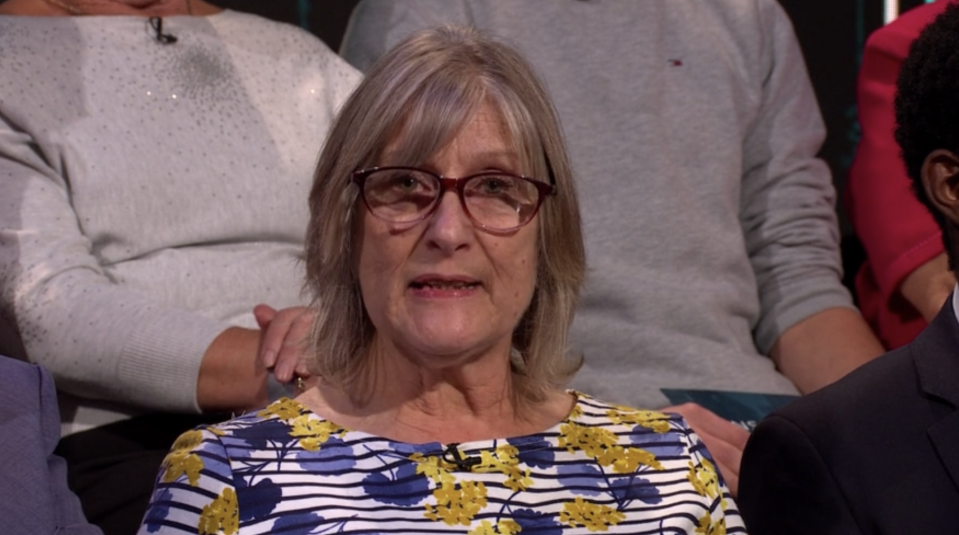 Bev Davies, from Newport, a care home laundry assistant. (ITV)