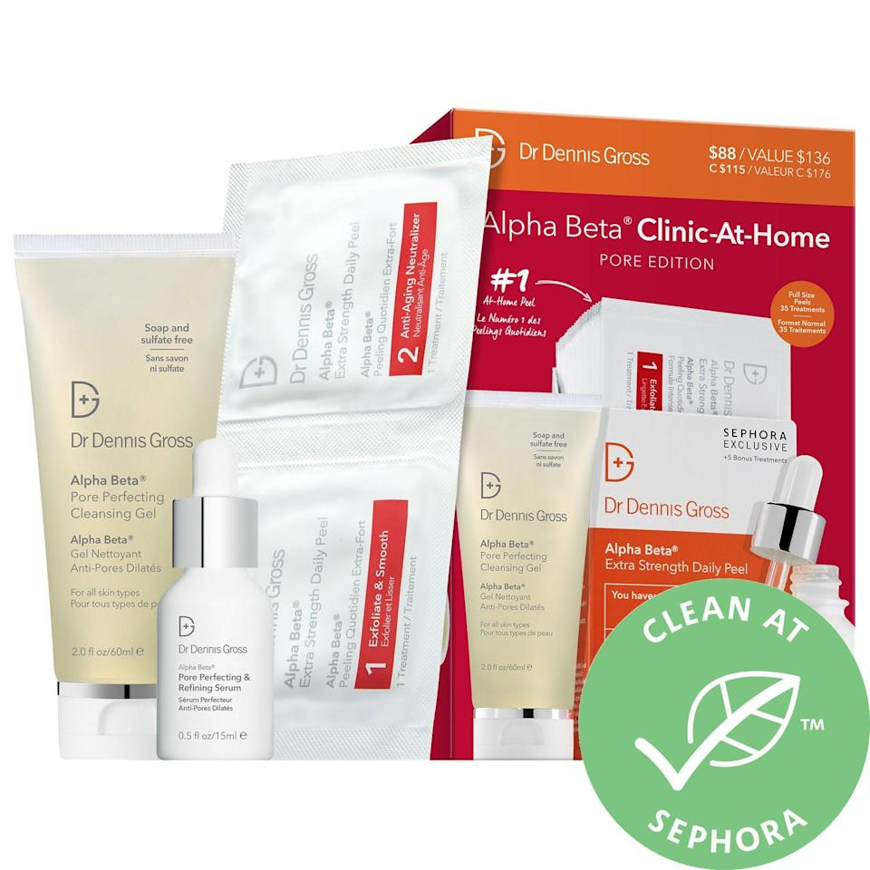 """<h2>Dr. Dennis Gross Alpha Beta Clinic-At-Home Pore Edition</h2><br>Maybe a trip to the best esthetician in town isn't in your gifting budget this year — that's fine. You can upgrade your mom's medicine cabinet with this professional peel kit that'll buff off dead skin and make her feel brand-new.<br><br><strong>Dr. Dennis Gross Skincare</strong> Alpha Beta Clinic-At-Home Pore Edition, $, available at <a href=""""https://go.skimresources.com/?id=30283X879131&url=https%3A%2F%2Fwww.sephora.com%2Fproduct%2Fdr-dennis-gross-skincare-alpha-beta-reg-clinic-at-home-pore-edition-P470519%3Ficid2%3Dproducts%2520grid%3Ap470519"""" rel=""""nofollow noopener"""" target=""""_blank"""" data-ylk=""""slk:Sephora"""" class=""""link rapid-noclick-resp"""">Sephora</a>"""