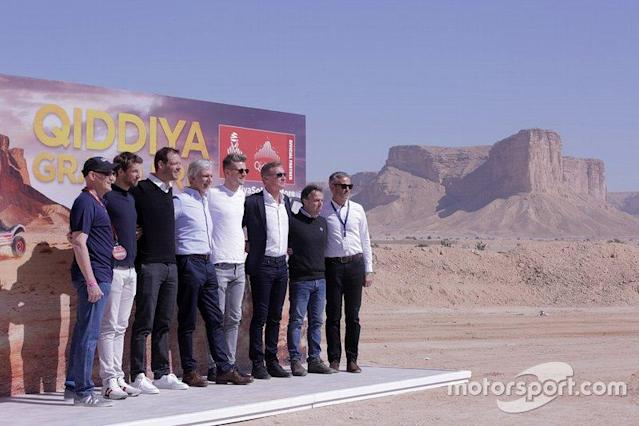 "Presentation of the Qiddiya Grand Prix with Nico Hülkenberg, Alexander Wurz, Romain Grosjean, Damon Hill, David Coulthard, Loris Capirossi <span class=""copyright"">Qiddiya Grand Prix </span>"