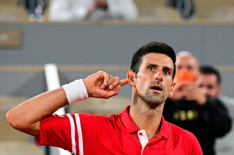 Shout it out loud: Novak Djokovic on his way to victory