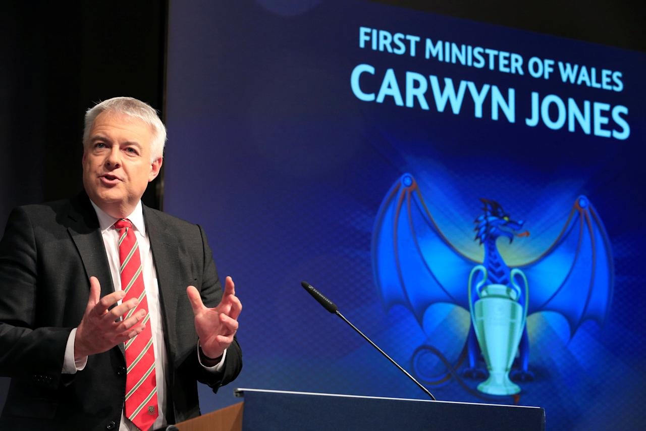 FILE PHOTO: First Minister of Wales Carwyn Jones speaks before the UEFA Champions League semi-finals draw in Nyon, Switzerland, on April 21 2017. Reuters/Pierre Albouy/File Photo