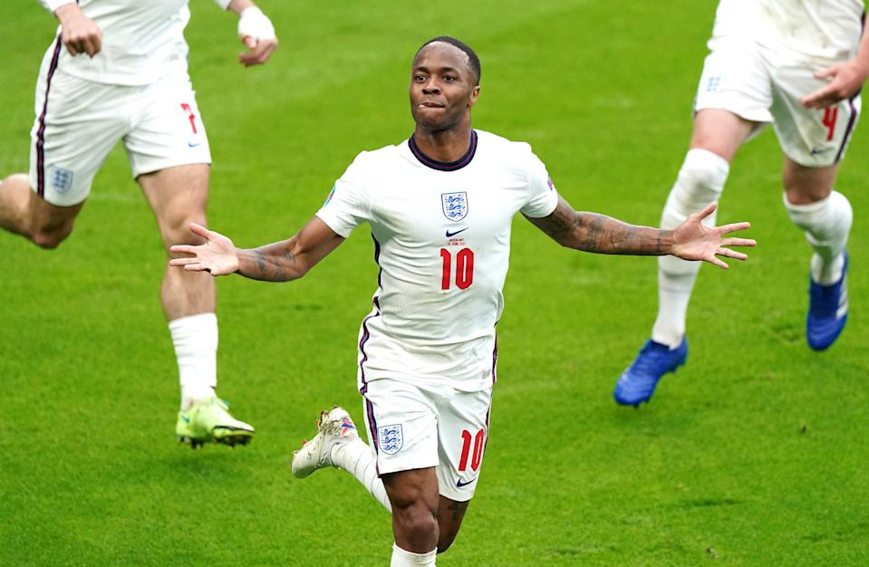 The immaculate Raheem Sterling, one of the modern young men, like it said in Gareth's lovely letter, naturally connected to the values of ordinary people (PA Wire)