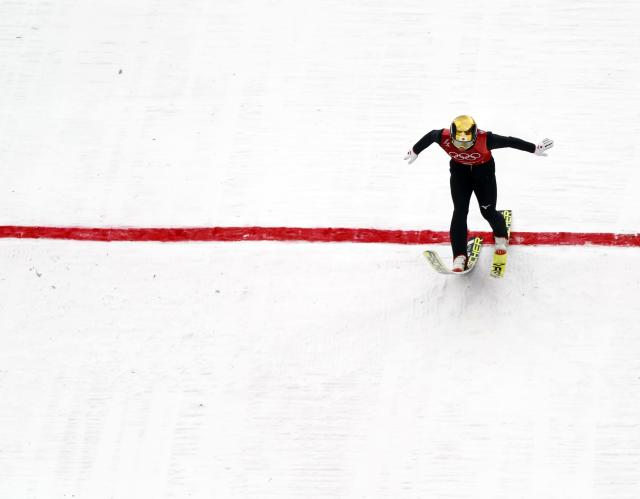Nordic Combined Events - Pyeongchang 2018 Winter Olympics - Men's Team Gundersen LH Competition - Alpensia Ski Jumping Centre - Pyeongchang, South Korea - February 22, 2018 - Hideaki Nagai of Japan competes. REUTERS/Kai Pfaffenbach